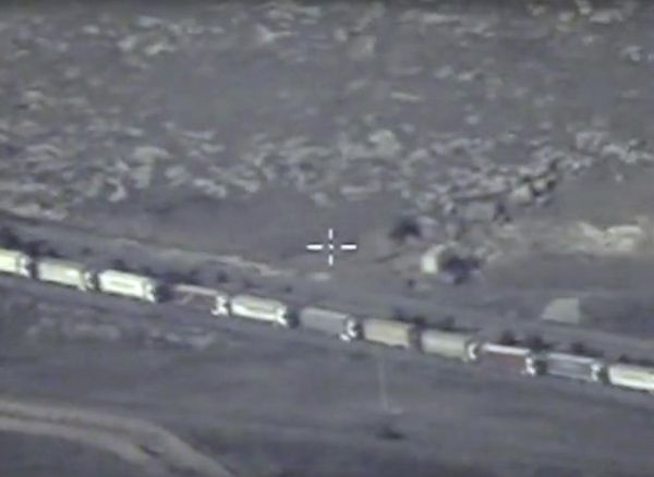 The Turkish-Syrian border crossing is seen in this undated still image taken from video made available by the Russian Defence Ministry in Moscow, Russia on December 2, 2015. REUTERS/Russian Defence Ministry/Handout via Reuters